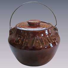 Stoneware Bean Pot Crock, Swing Handle