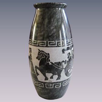 Onxy Black Marble Etched Vase, Chariots;,Greek Key