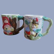 Children Fairy Tale Mugs, Littel Red Riding Hood, Jack in the Beanstalk