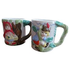 Children Fairy Tale Mugs, Littel Red Riding Hood, Jack in the Beanstalk