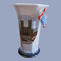 German Pictorial Souvenir Vase, Montreal Canada,Notre Dame,Place D'Armes