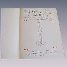 1926 The Saga of Billy the Kid by Walter Burns, Doubleday Page & Company
