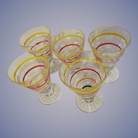 Anchor Hocking Banded Rings Depression 5pc Cone Tumblers