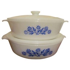"Fire King Blue Cornflower Covered Casseroles, 1 1/2""qt and 2qt"