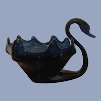 Cobalt Blue Murano Mid Century Large Blown Swan Bowl