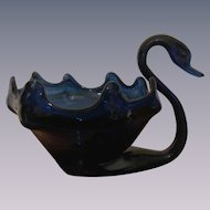 Cobalt Blue Murano Mid Century Large Blown Swan Bowl