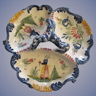 Quimpeer Faience 3 Part Relish Serving Dish Tray
