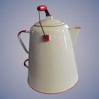 "Large 12"" Red and White Enamel Coffee Pot"