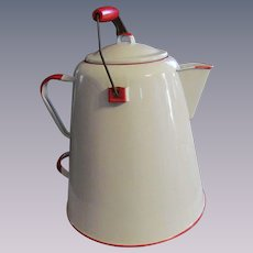 """Large 12"""" Red and White Enamel Coffee Pot"""