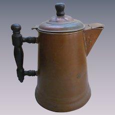 Copper Teapot Coffee pot, Wood Handle,Wood Lid Knob