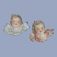 Goebel Bee Mark Boy and Girl Kewpie Angel Wall Plaques, West Germany