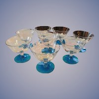 8 Fostoria 6oz Goblets, Blue Foot