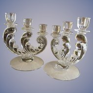 Fostoria Plume 3 Light Candle Holders