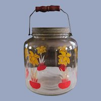 Pantry Storage Jar,Daffodils in Red Flower Pot, Bail Wire Handle