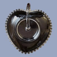 Imperial Candlewick Handled Heart Dish