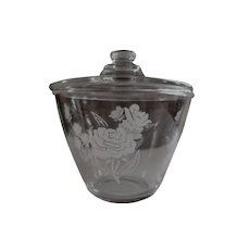 Hocking Fire King Glass Grease Jar, Roses