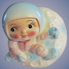 1960s Inarco Space Astronaut on the Moon Baby Planter