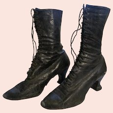 Black Victorian Leather High Top Ladies Shoes