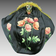 B Altman & Co French Purse Handbag, Embroidered Roses, Rhinestones