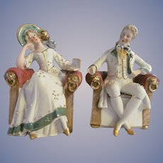 "German Bisque  5.25""  Couple, Lady & Gent Figurines Sitting in Chairs"