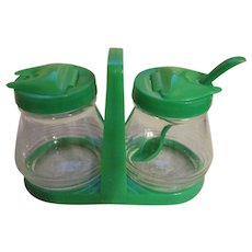 Hocking Green Plastic & Glass Creamer & Sugar with Spoon and Holder