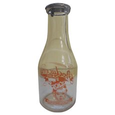 Producers Dairy Baby Face Quart Milk Bottle, Peoria Illinois, Metal Advertising Lid