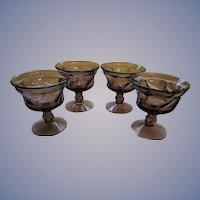 Four Jamestown Fostoria 6oz Purple Amethyst Goblets, Champagne, Sherbet