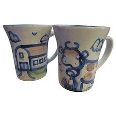 M A Hadley Coffee Mugs, Cow & Barn
