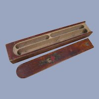 Wood Pencil Pen Box Holder, Slide Lid