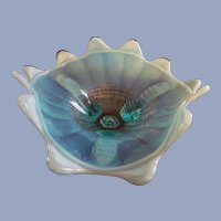"Northwood Blue Opalescent 8"" Klondike, Fluted Scrolls Footed Bowl"