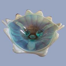 "Northwood Blue Opalescent 8"" Klondike, Fluted Scrolls Footed Bowl"