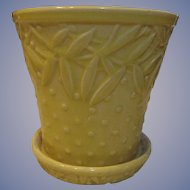 """McCoy Pottery Yellow Hobnail and Leaves 5 1/2"""" Flower Pot Planter with Saucer"""