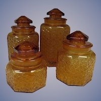 Amber Daisy and Button Canister Set, LE Smith Company