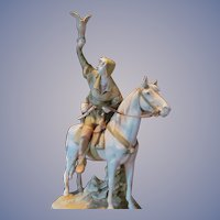 """Royal Dux 25"""" Hunter with Falcon on Horse Statue Figurine, FREE SHIPPING within USA"""