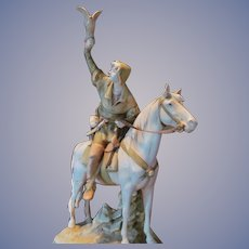 "Royal Dux 25"" Hunter with Falcon on Horse Statue Figurine, FREE SHIPPING within USA"
