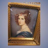 Miniature Painted Portrait, Amalie Von Schintling, Signed
