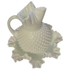 Fenton Hobnail Pitcher and Bowl Set, Milk Glass