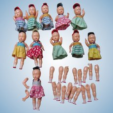 Eleven Miniature Celluloid Dolls, Jointed, Open/Close Eyes