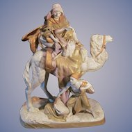 """Royal Dux 23"""" Two Nomads with Camel Figurine Statue, Free Shipping within USA"""