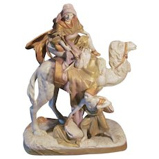 "Royal Dux 23"" Two Nomads with Camel Figurine Statue, Free Shipping within USA"