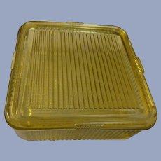 Federal Amber Ribbed, Square Refrigerator Dish