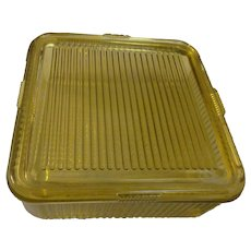 Federal Amber Ribbed, Square Refrigerator Dish