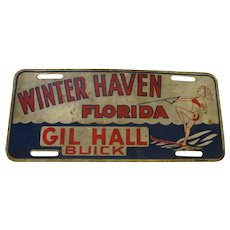 Metal Buick Dealership Advertising License Plate, 1960s Winter Haven Florida