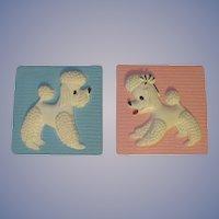 1972 Miller Studio Pink Blue Poodle Plaques