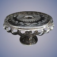 """McKee Plymouth Thumbprint 11.5""""  Footed Cake Stand with Rum Well"""