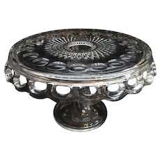 "McKee Plymouth Thumbprint 11.5""  Footed Cake Stand with Rum Well"