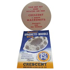 1938 Crescent National Spaghetti, Noodle Week Advertising Posters