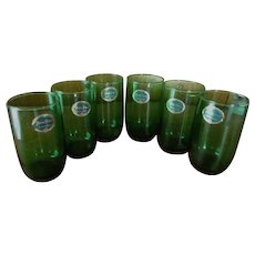 6 Hocking Forest Green 10oz Tumblers with Labels