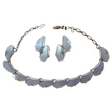 Leru Lucite Powder Blue Necklace and Clip Earring Set