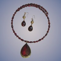 Monet Ruby Red Wrap Pendant Necklace and Pierced Earring Set